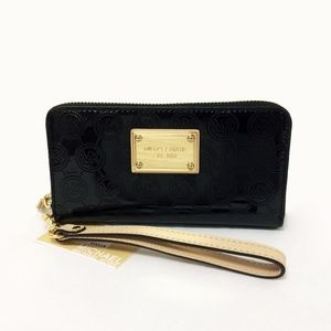 MK Jet Set Black Patent Leather Wristlet